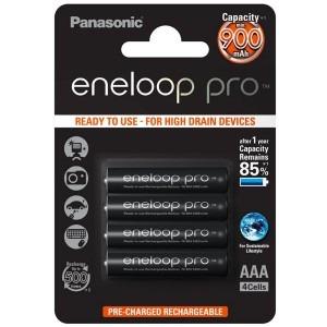 Image of   4 stk. genopladelige batterier Panasonic eneloop pro AAA / R0